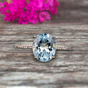 1.25 Carat Oval Shape 10k Rose Gold Aquamarine engagement ring