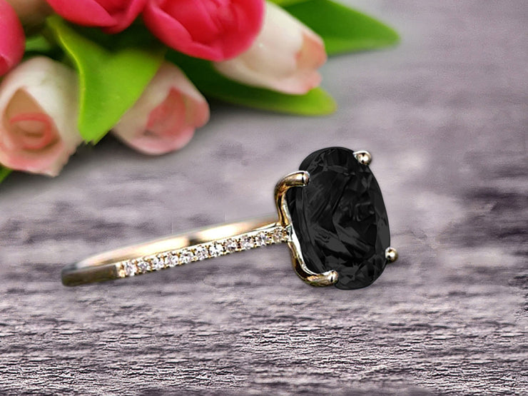 1.25 Carat Oval Shape 10k Rose Gold Black Diamond Moissanite engagement ring