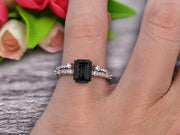 1.50 Carat Emerald Cut 10k White Gold Natural Black Diamond Moissanite Engagement Ring Bridal Set