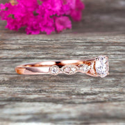 Moissanite Diamond Engagement ring Classic Vintage Style 1.25 Carat Art Deco ring on 10k Rose Gold