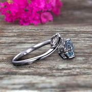 Aquamarine Engagement Ring Unique Leaf and Oval Shaped Combination 1.25 Carat 10k White Gold Anniversary Gift