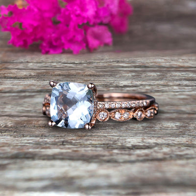 Cushion Cut 1.75 Carat  Aquamarine Engagement Ring with Unique Wedding Band 10k Rose Gold Art Deco Bridal Set Anniversary Gift