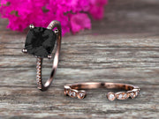 Cushion Cut 1.75 Carat  Black Diamond Moissanite Engagement Ring with Unique Wedding Band 10k Rose Gold Art Deco Bridal Set Anniversary Gift