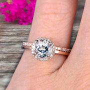 Round Cut 1.50 Carat  Aquamarine Engagement Ring Bridal Set 10k Rose Gold Art Deco Matching Wedding Band Anniversary Gift