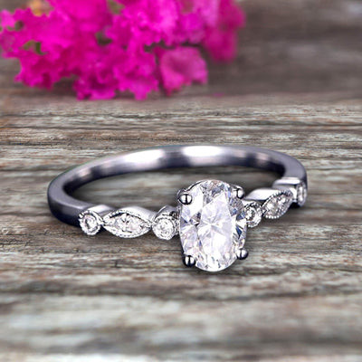 1.25 Carat Beautiful Oval Shaped Cut Moissanite Diamond Engagement Ring Classic Art Deco 10k White Gold