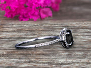 1.50 Carat Round Cut Black Diamond Moissanite Engagement Ring On 10k White Gold Art Deco Halo Designed