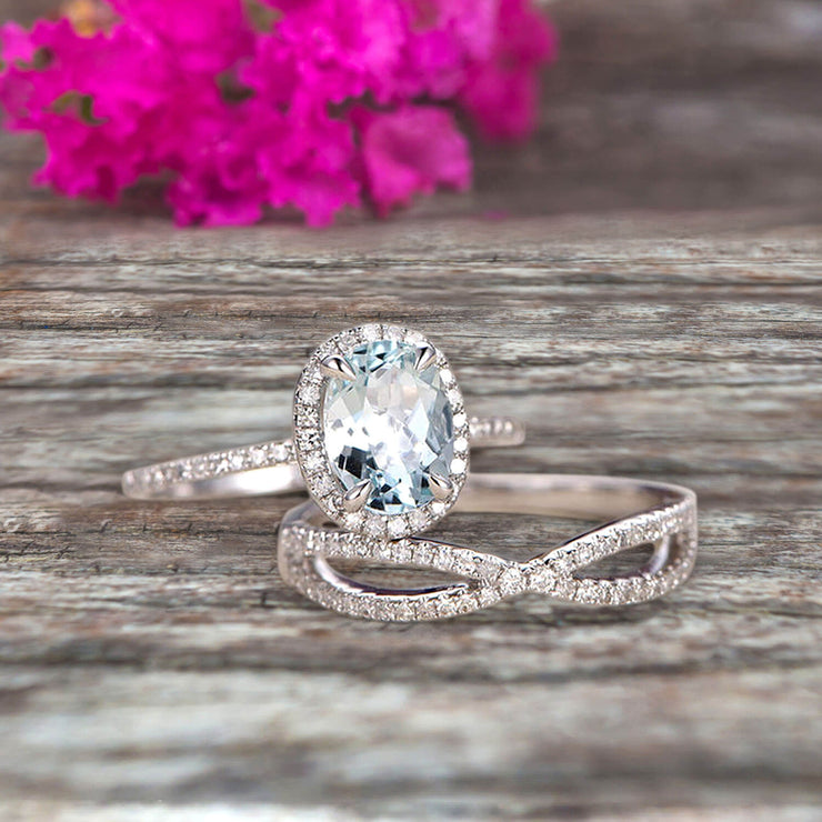 10k White Gold 1.75 Carat Oval Cut Aquamarine Engagement Rings With Twisted Wedding Band Diamonds Halo Design