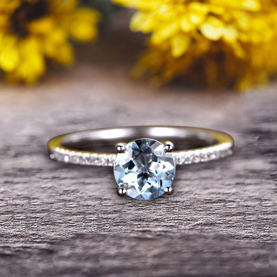 Round Cut 1.25 Carat Blue Aquamarine Engagement Ring 10k White Gold Anniversary Gift for her