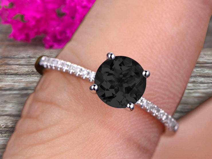 Round Cut 1.25 Carat Blue Black Diamond Moissanite Engagement Ring 10k White Gold Anniversary Gift for her