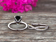 Oval Cut 1.50 Carat Black Diamond Moissanite Engagement Ring Set Solid 10K White Gold Promise Ring Bridal Gift