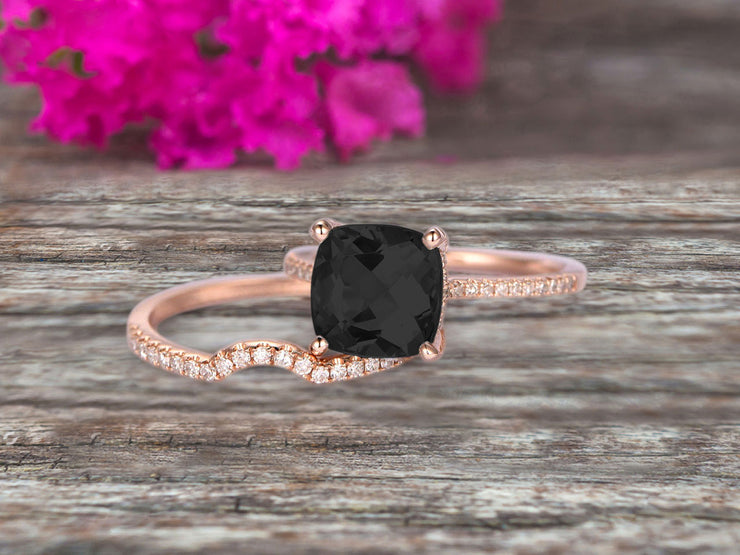 2Pcs Wedding Ring Set Cushion Cut 1.75 Carat Black Diamond Moissanite Engagement ring On 10k Rose gold Curved Wedding Band Personalized for Brides