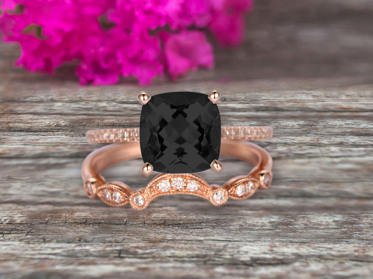 1.75 Carat 2Pcs Black Diamond Moissanite Wedding Ring Set Cushion Cut Black Diamond Moissanite Engagement Ring On 10k Rose Gold Curved Art Deco Matching Wedding Band Personalized for Brides