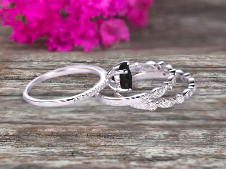 1.75 Carat 3Pcs Wedding Ring Set Black Diamond Moissanite Engagement Ring Round Cut Art Deco 10k White Gold