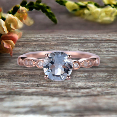 1.25 Carat Wedding Ring Aquamarine Engagement Ring Round Cut Art Deco 10k Rose Gold Anniversary Gift Personalized for Brides