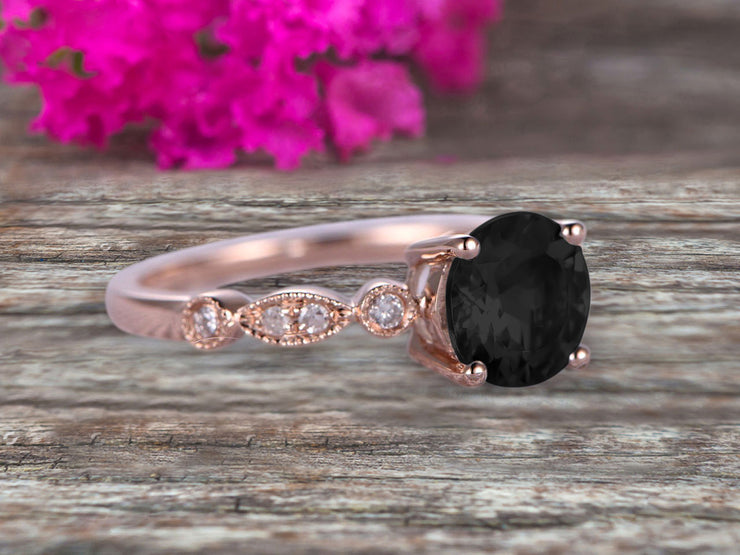 1.25 Carat Wedding Ring Black Diamond Moissanite Engagement Ring Round Cut Art Deco 10k Rose Gold Anniversary Gift Personalized for Brides