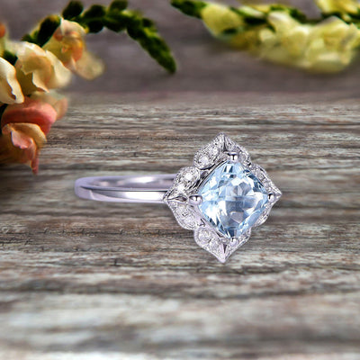 Cushion Cut 1.25 Carat Vintage Floral Aquamarine Engagement Ring On 10k White Gold Anniversary Gift Personalized for Brides