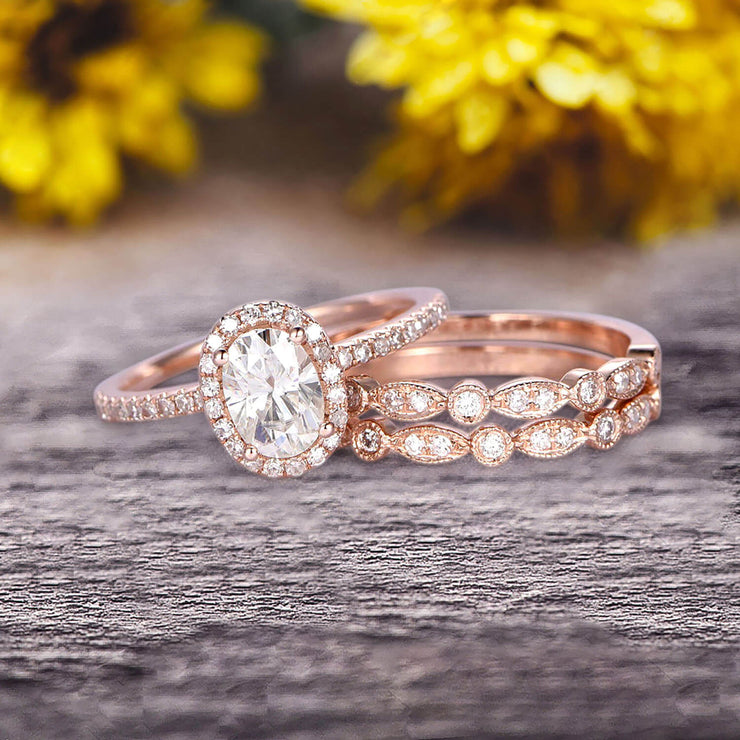 2.00 carat Classic Oval Moissanite Diamond wedding Bands & Bridal Set Engagement Ring Classic Art Deco 10k Rose Gold