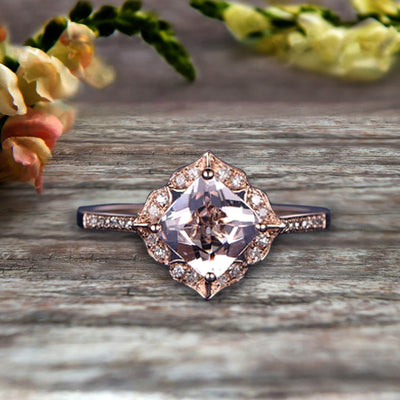 1.5 Carat Princess Cut Pink Morganite Engagement Ring On 10k Rose Gold Wedding Ring Art Retro Vintage Looking