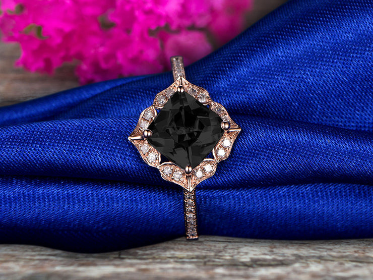1.5 Carat Princess Cut Pink Black Diamond Moissanite Engagement Ring On 10k Rose Gold Wedding Ring Art Retro Vintage Looking