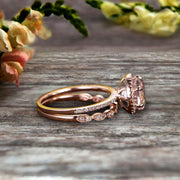 1.75 Carat Round Cut VS Morganite Engagement Ring Set 10k Rose Gold Milgrain Band Halo Anniversary Gift Personalized for Brides