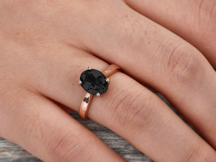 1 Carat Oval Cut Black Diamond Moissanite Engagement Ring Solitaire Promise Ring On 10k Rose Gold Personalized for Brides