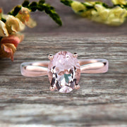 1 Carat Oval Cut Morganite Engagement Ring Solitaire Promise Ring On 10k Rose Gold Personalized for Brides