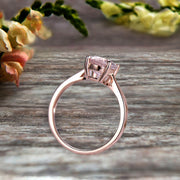 2 Carat Oval Cut Morganite Engagement Ring Solitaire Promise Ring On 10k Rose Gold Personalized for Brides