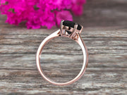 2 Carat Oval Cut Black Diamond Moissanite Engagement Ring Solitaire Promise Ring On 10k Rose Gold Personalized for Brides