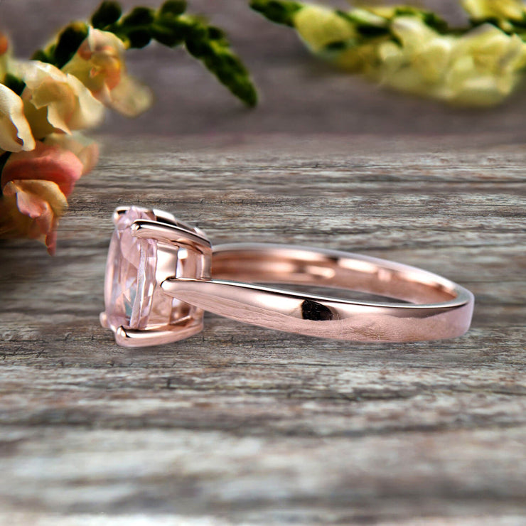 3 Carat Oval Cut Morganite Engagement Ring Solitaire Promise Ring On 10k Rose Gold Personalized for Brides