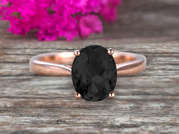 4 Carat Oval Cut Black Diamond Moissanite Engagement Ring Solitaire Promise Ring On 10k Rose Gold Personalized for Brides