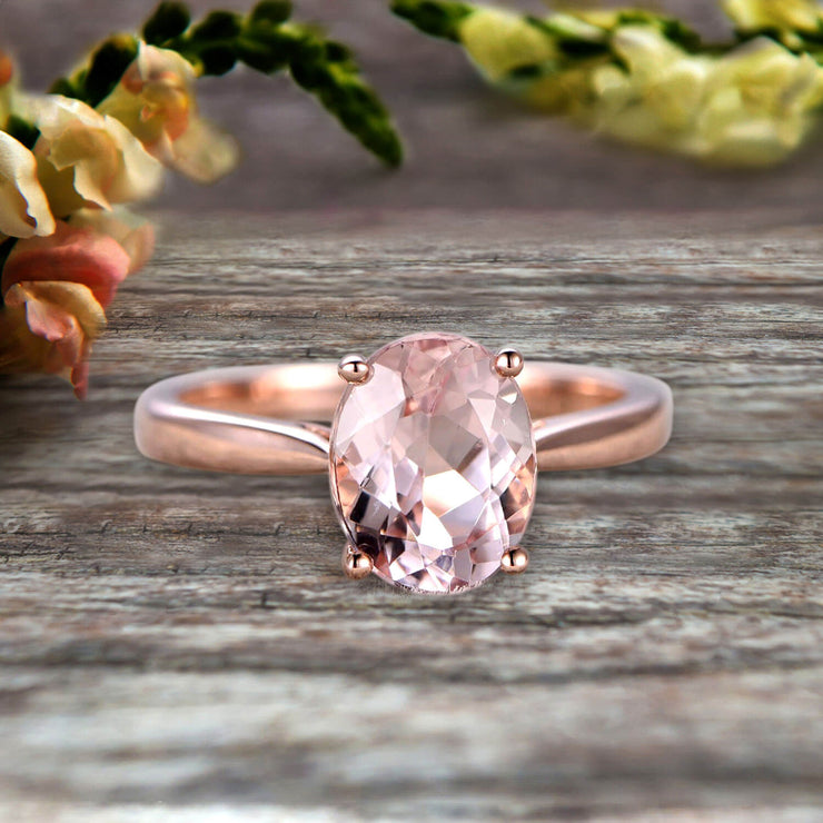 4 Carat Oval Cut Morganite Engagement Ring Solitaire Promise Ring On 10k Rose Gold Personalized for Brides