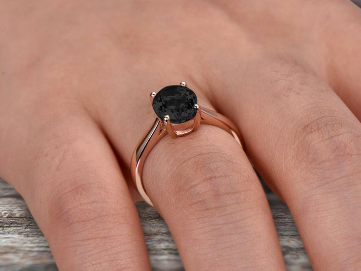 5 Carat Oval Cut Black Diamond Moissanite Engagement Ring Solitaire Promise Ring On 10k Rose Gold Personalized for Brides