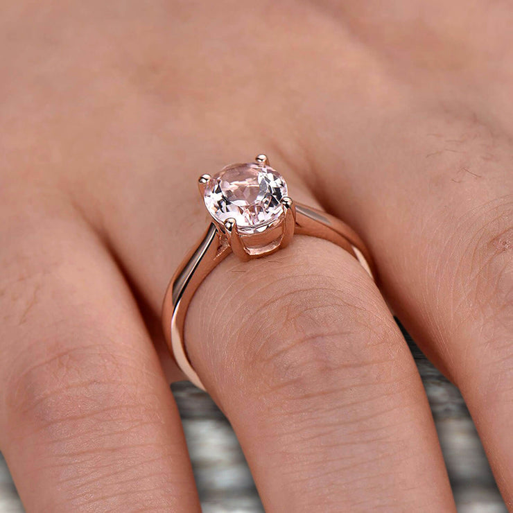 5 Carat Oval Cut Morganite Engagement Ring Solitaire Promise Ring On 10k Rose Gold Personalized for Brides