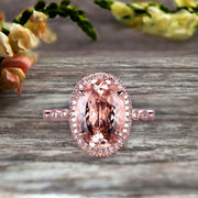 1.75 Carat Oval Cut Morganite Engagement Ring On 10k Rose Gold Halo Stackable Ring Art Deco Anniversary Gift Personalized for Brides