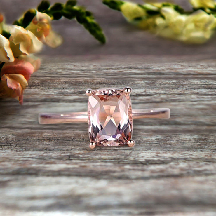 10K Rose Gold Cushion Cut Pink Morganite Engagement Ring Solitaire Promise Ring Anniversary Gift Personalized for Brides