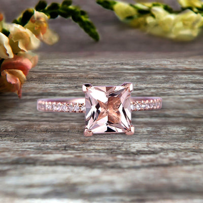 Princess Cut 1.25 Carat Morganite Engagement Ring Wedding Ring On 10k Rose Gold Anniversary Gift Art Deco Specialized for Brides