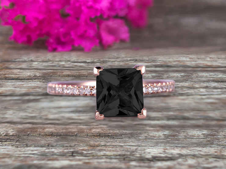 Princess Cut 1.25 Carat Black Diamond Moissanite Engagement Ring Wedding Ring On 10k Rose Gold Anniversary Gift Art Deco Specialized for Brides