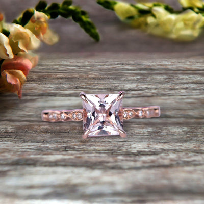 1.25 Carat Morganite Engagement Ring With Diamond in 10k Rose Gold Art Deco Princess Cut Pink Morganite Ring