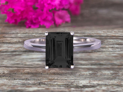 Emerald Cut 1 Carat Black Diamond Moissanite Engagement Ring Wedding Ring Promise Ring 10k White Gold Solitaire Anniversary Ring Personalized for Brides