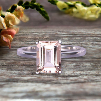 Emerald Cut 1 Carat Morganite Engagement Ring Wedding Ring Promise Ring 10k White Gold Solitaire Anniversary Ring Personalized for Brides