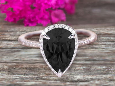 1.50 Carat Pear shaped Black Diamond Moissanite Engagement Ring 10k White Gold Halo setting