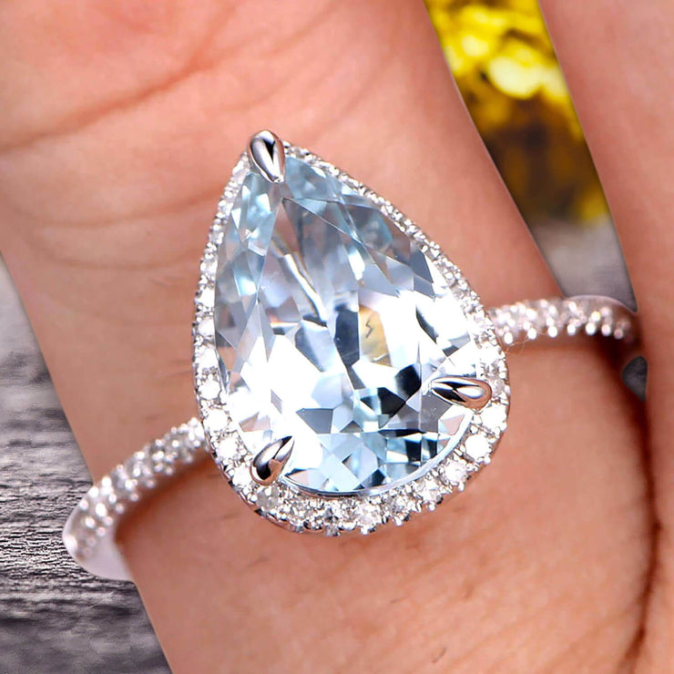 1.50 Carat Pear shaped Aquamarine Engagement Ring 10k White Gold Halo setting