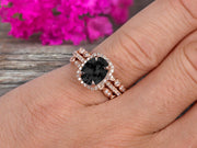 2 Carat Oval Cut Black Diamond Moissanite Engagement Ring 10k Rose Gold With Art Deco Vintage Looking Matching Wedding Band