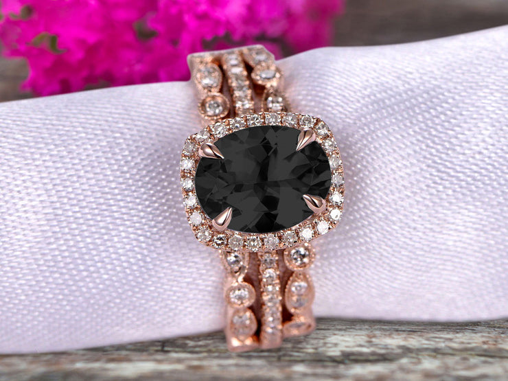 3 Carat Oval Cut Black Diamond Moissanite Engagement Ring 10k Rose Gold With Art Deco Vintage Looking Matching Wedding Band