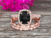 4 Carat Oval Cut Black Diamond Moissanite Engagement Ring 10k Rose Gold With Art Deco Vintage Looking Matching Wedding Band