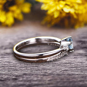 1.5 Carat Round Cut Aquamarine Engagement Ring 10k White Gold With Art Deco Vintage Looking Matching Wedding Band