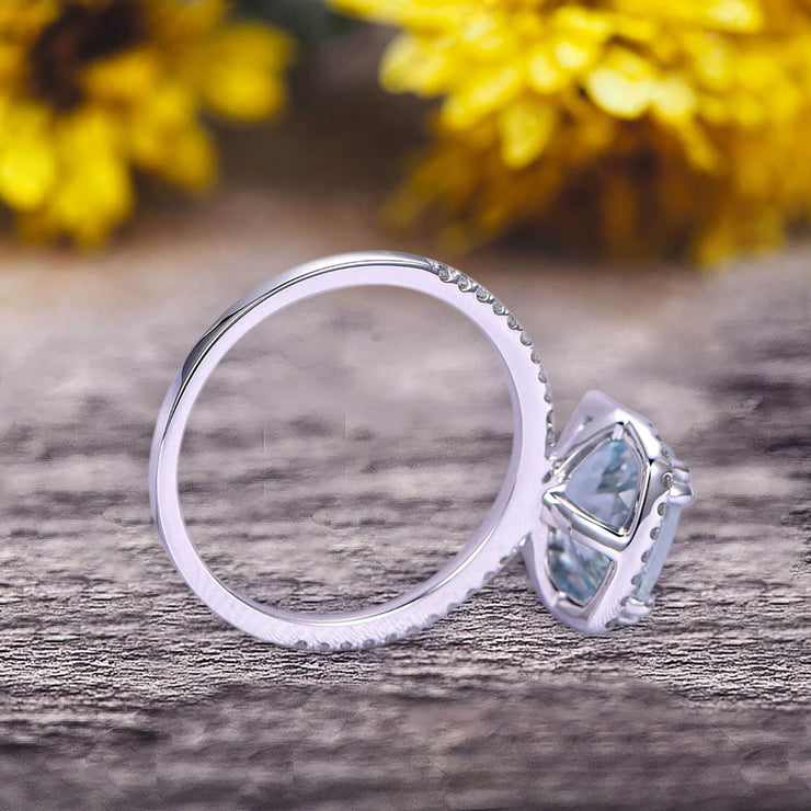 1.5 Carat Cushion Cut Aquamarine Engagement Ring on 10k White Gold