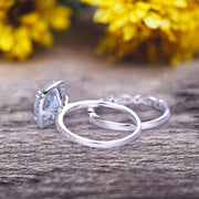 1.75 Carat Cushion Cut Vintage Looking Natural Aquamarine Bridal Ring with Wedding Band on 10k White Gold