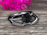 1.50 Carat Round Cut Black Diamond Moissanite Engagement Ring On 10k White Gold With Wedding Band