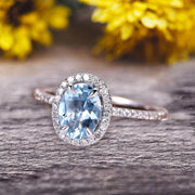 Oval Cut 1.50 carat Natural Blue Aquamarine White Gold Ring Engagement Ring Anniversary Gift On 10k White Gold Art Deco Halo